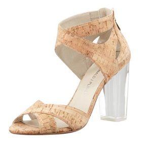 Donald J Pliner Manda Cork Lucite Sandal Heel